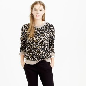 J. Crew Leopard Print Pullover Crewneck Sweatshirt